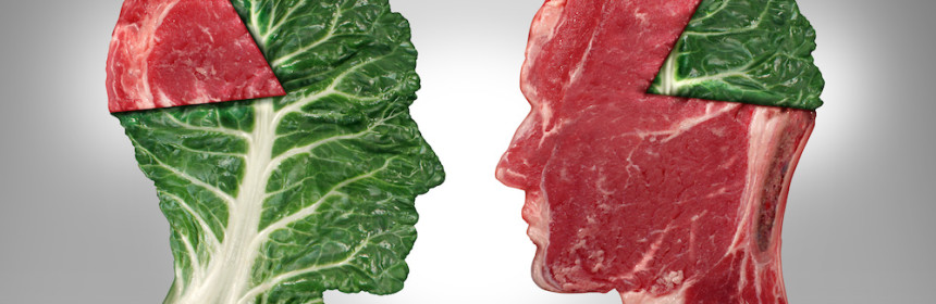 Food balance and health related eating choices with a human head shape green vegetable kale leaf with a piece of meat as a pie chart facing a red steak with the opposite situation as a lifestyle for nutritional decisions and diet or dieting dilemma.