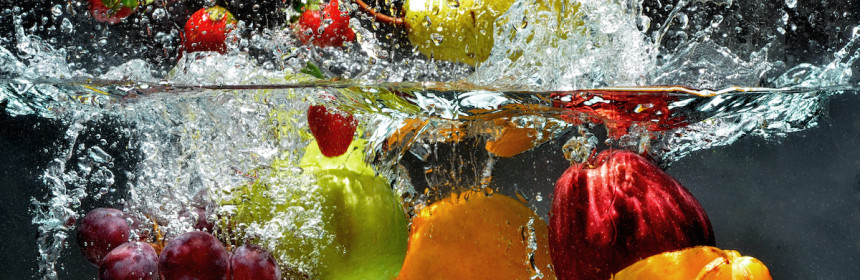 Fresh Fruit and Vegetables being  shot as they submerged under water. So fresh and delicious. This idea can also be use to show washing food before being process further.